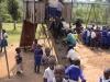 Children enjoying new playhouse